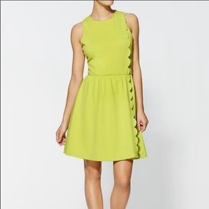 Pim + Larkin Lime Green Scallop Cocktail Dress